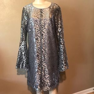 WHBM lace bell sleeves shift cocktail dress 12